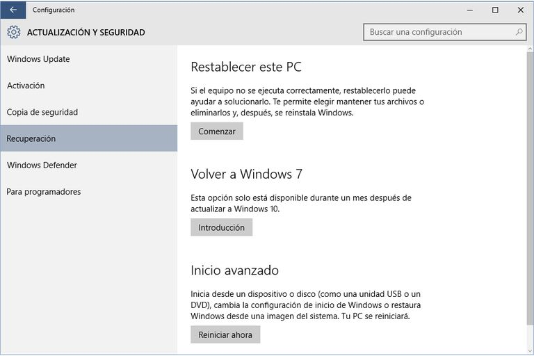 Volver Windows7 Desde Windows10