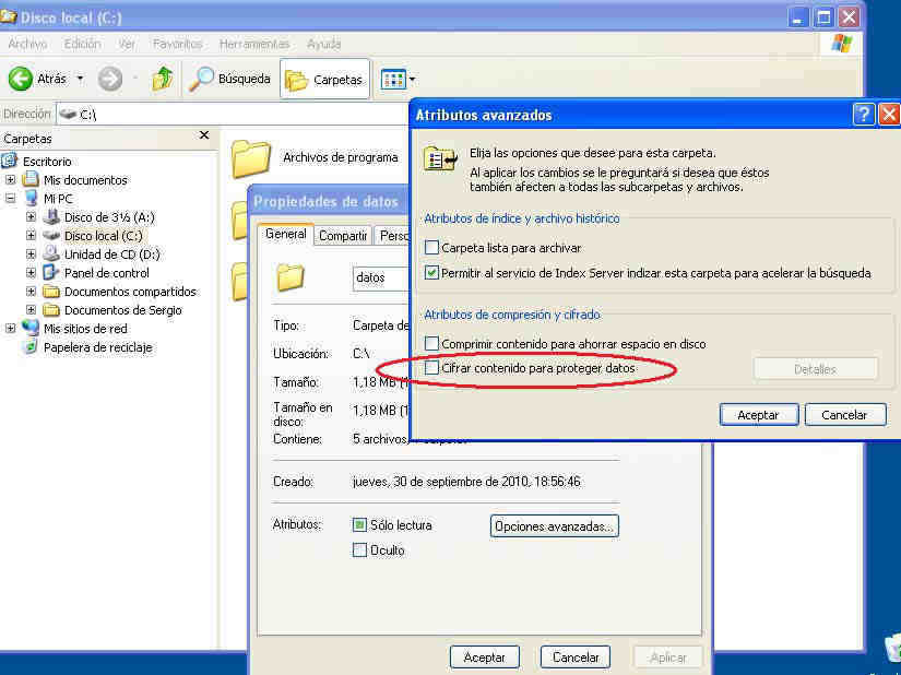 cifrar carpetas en windows 1